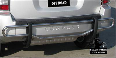 Compass - Rear Add On - Black Horse - Jeep Compass Black Horse Rear Bumper Guard - Double Tube