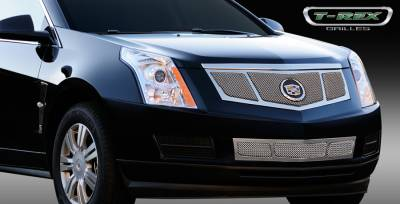 Grilles - Custom Fit Grilles - T-Rex - Cadillac SRX T-Rex Upper Class Mesh Grille - Replacement - 3 Window Design with OE Logo Plate - Polished - 54187