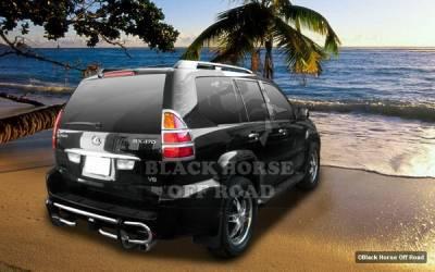 GX - Rear Add On - Black Horse - Lexus GX Black Horse Rear Bumper Guard - Double Tube