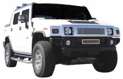 Grilles - Custom Fit Grilles - T-Rex - Hummer H2 T-Rex Upper Class Polished Stainless Mesh Grille with Formed Mesh Center - 54290
