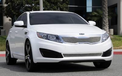 Grilles - Custom Fit Grilles - T-Rex - Kia Optima T-Rex Upper Class Polished Stainless Mesh Grille with Formed Mesh Center - 54320