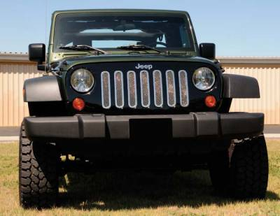 Grilles - Custom Fit Grilles - T-Rex - Jeep Wrangler T-Rex Upper Class Polished Stainless Mesh Grille - 7PC - 54481