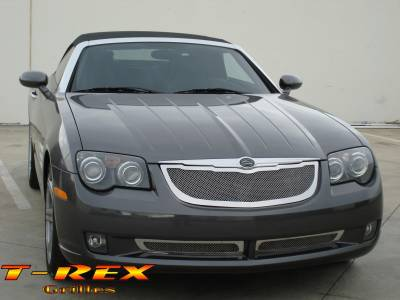 Grilles - Custom Fit Grilles - T-Rex - Chrysler Crossfire T-Rex Upper Class Polished Stainless Mesh Grille - 3PC - 54489