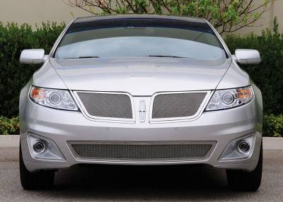 Grilles - Custom Fit Grilles - T-Rex - Lincoln MKS T-Rex Upper Class Polished Stainless Mesh Grille with Formed Mesh Center - 2PC - 54718