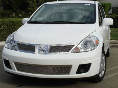 Grilles - Custom Fit Grilles - T-Rex - Nissan Versa T-Rex Upper Class Polished Stainless Mesh Grille - 54773