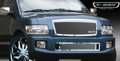 Grilles - Custom Fit Grilles - T-Rex - Infiniti QX T-Rex Upper Class Polished Stainless Mesh Grille - 54791