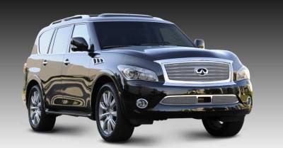 Grilles - Custom Fit Grilles - T-Rex - Infiniti QX56 T-Rex Upper Class Mesh Grille - Overlay with OE Logo Plate - Polished - 54793