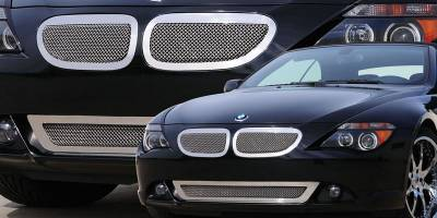 Grilles - Custom Fit Grilles - T-Rex - BMW 6 Series T-Rex Upper Class Polished Stainless Mesh Grille with Formed Mesh Center - 2PC - 54997