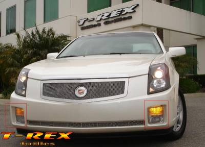 Grilles - Custom Fit Grilles - T-Rex - Cadillac CTS T-Rex Upper Class Polished Stainless Bumper Mesh Grille - Turn Signal Lamp - 2PC - 55193