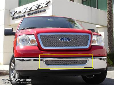 Grilles - Custom Fit Grilles - T-Rex - Lincoln Mark T-Rex Upper Class Polished Stainless Bumper Mesh Grille with Formed Mesh Center - 55555