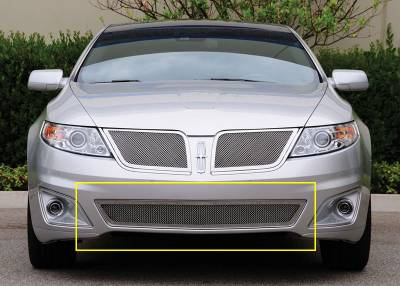 Grilles - Custom Fit Grilles - T-Rex - Lincoln MKS T-Rex Upper Class Polished Stainless Bumper Mesh Grille - 55718