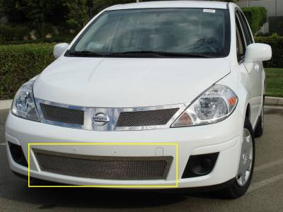 Grilles - Custom Fit Grilles - T-Rex - Nissan Versa T-Rex Upper Class Polished Stainless Bumper Mesh Grille - 55773