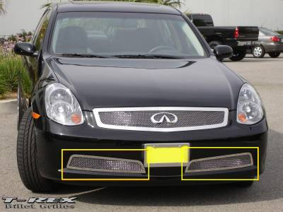 Grilles - Custom Fit Grilles - T-Rex - Infiniti G35 4DR T-Rex Upper Class Polished Stainless Bumper Mesh Grille - 2PC - 55799