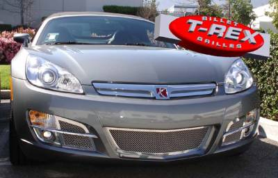 Grilles - Custom Fit Grilles - T-Rex - Saturn Sky T-Rex Upper Class Polished Stainless Bumper Mesh Grille - 4PC - 55805
