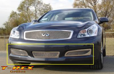 Grilles - Custom Fit Grilles - T-Rex - Infiniti G35 4DR T-Rex Upper Class Polished Stainless Bumper Mesh Grille with Formed Mesh Center - 55809