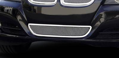 Grilles - Custom Fit Grilles - T-Rex - BMW 3 Series T-Rex Upper Class Polished Stainless Bumper Mesh Grille with Formed Mesh Center - 55992