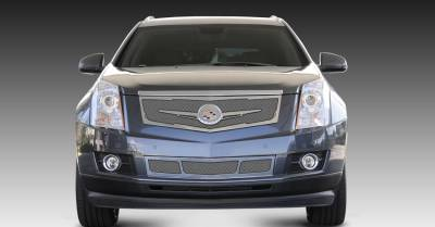 Grilles - Custom Fit Grilles - T-Rex - Cadillac SRX T-Rex Upper Class Mesh Grille - Replacement - Full Opening with Winged OE Logo Plate - Chrome - 56186