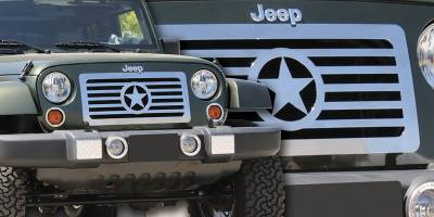 Grilles - Custom Fit Grilles - T-Rex - Jeep Wrangler T-Rex Custom Series Stainless Grille - Center Star Design - 66481