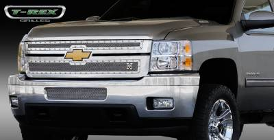 T-Rex. - Chevrolet Silverado T-Rex X-Metal Series Studded Main Grille - Polished Stainless Steel - 2PC Style - 6711140