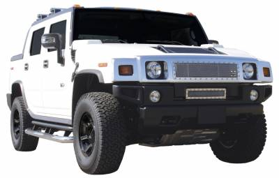 Grilles - Custom Fit Grilles - T-Rex - Hummer H2 T-Rex X-Metal Series Studded Main Grille - Polished Stainless Steel - 6712900