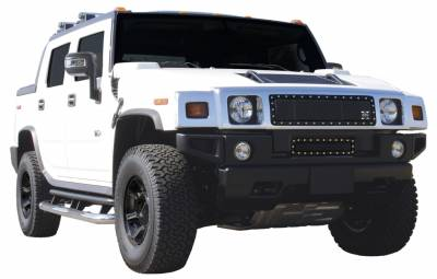 Grilles - Custom Fit Grilles - T-Rex - Hummer H2 T-Rex X-Metal Series Studded Main Grille - All Black - 6712901