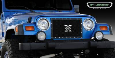Grilles - Custom Fit Grilles - T-Rex - Jeep Wrangler T-Rex X-Metal Series Studded Main Grille - All Black - 1PC Custom - 6714901