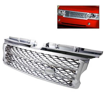 Grilles - Custom Fit Grilles - Spyder Auto - Land Rover Range Rover Spyder Front Grille - Chrome - GRI-LRRS07-C