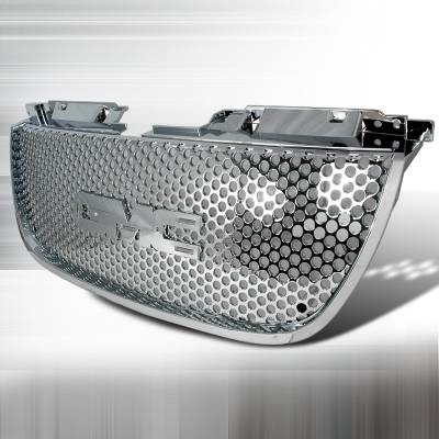 Grilles - Custom Fit Grilles - Spec-D - GMC Denali Spec-D Punch Hole Style Mesh Grille - Chrome - HG-DEN07CO