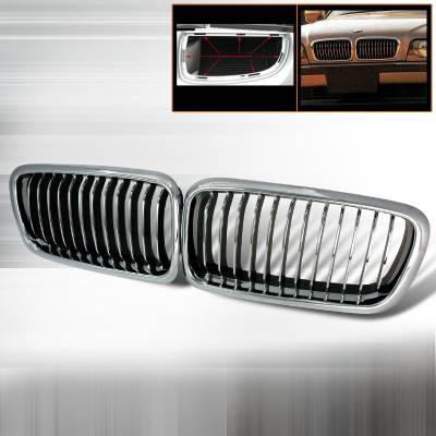 Grilles - Custom Fit Grilles - Spec-D - BMW 7 Series Spec-D Front Hood Grille - Chrome - HG-E3895CC