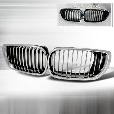 Grilles - Custom Fit Grilles - Spec-D - BMW 3 Series 4DR Spec-D Front Hood Grille - Chrome - HG-E4602CC