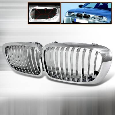 Grilles - Custom Fit Grilles - Spec-D - BMW 3 Series 2DR Spec-D Front Hood Grille - Chrome - HG-E46992CC