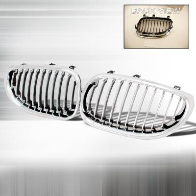 Grilles - Custom Fit Grilles - Spec-D - BMW 5 Series Spec-D Front Hood Grille - Chrome - HG-E6004CC