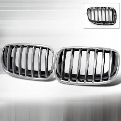 Grilles - Custom Fit Grilles - Spec-D - BMW X6 Spec-D Front Hood Grille - Chrome - HG-E7007CC