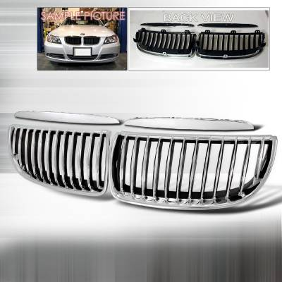 Grilles - Custom Fit Grilles - Spec-D - BMW 3 Series Spec-D Front Hood Grille - Chrome - HG-E9005CC