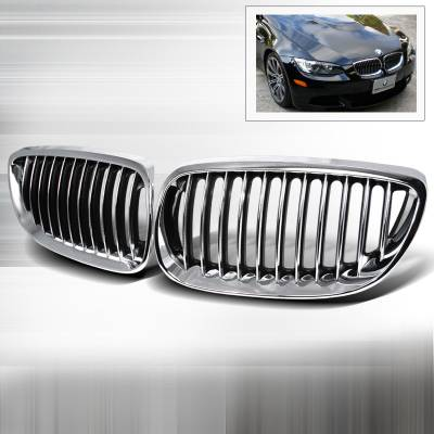 Grilles - Custom Fit Grilles - Spec-D - BMW 3 Series Spec-D Front Hood Grille - Chrome - HG-E9207CC