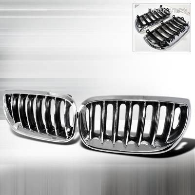 Grilles - Custom Fit Grilles - Spec-D - BMW X3 Spec-D Hood Grille - Chrome - HG-X304CC