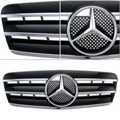 Grilles - Custom Fit Grilles - Sym - Black Silver 3 Fin W208
