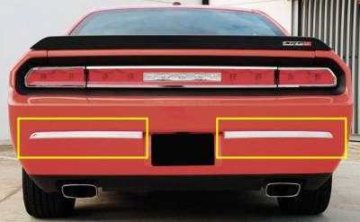 Accessories - Exterior Accessories - T-Rex - Dodge Challenger T-Rex T1 Series Rear Bumper Trim - Brushed Aluminum - 2PC - 12417