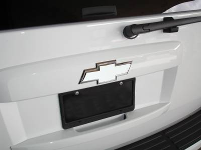 Accessories - Exterior Accessories - T-Rex - Chevrolet Tahoe T-Rex Billet Bowtie - Rear with Border - Polished - 19050