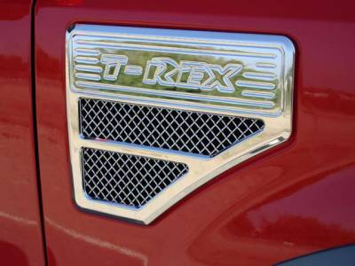 Accessories - Exterior Accessories - T-Rex - Ford Superduty T-Rex Side Vent - Billet Chrome Plated - 54564