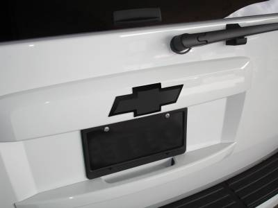 Accessories - Exterior Accessories - T-Rex - Chevrolet Avalanche T-Rex Billet Bowtie - Rear with Border - Black - 19055B