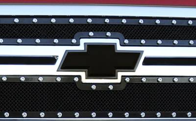 Accessories - Exterior Accessories - T-Rex - Chevrolet Silverado T-Rex Billet Bowtie with Border - Black - 19114B