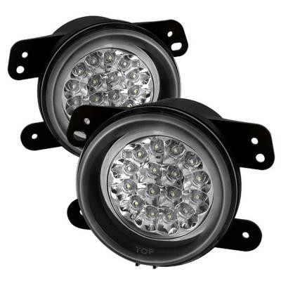 Headlights & Tail Lights - Fog Lights - Spyder - Jeep Wrangler Spyder LED Fog Lights - Clear - FL-LED-DM05-C
