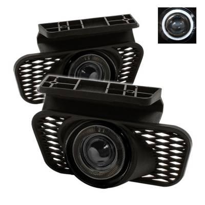 Headlights & Tail Lights - Fog Lights - Spyder - Chevrolet Silverado Spyder Halo Projector Fog Lights - Smoke - FL-P-CSIL03-HL-SM