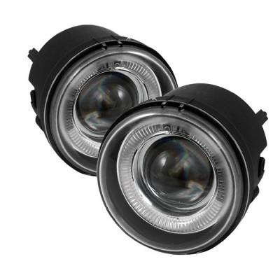 Headlights & Tail Lights - Fog Lights - Spyder - Jeep Compass Spyder Halo Projector Fog Lights - Clear - FL-P-DCH05-HL