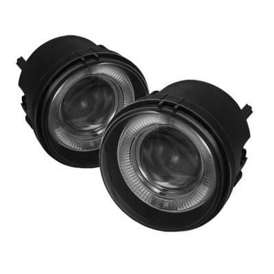 Headlights & Tail Lights - Fog Lights - Spyder - Jeep Compass Spyder Halo Projector Fog Lights - Smoke - FL-P-DCH05-HL-SM