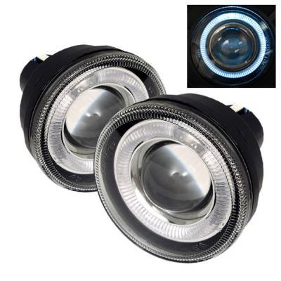 Headlights & Tail Lights - Fog Lights - Spyder - Dodge Durango Spyder Halo Projector Fog Lights - Clear - FL-P-DDAK01-HL