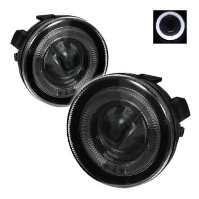 Headlights & Tail Lights - Fog Lights - Spyder - Dodge Durango Spyder Halo Projector Fog Lights - Smoke - FL-P-DDAK01-HL-SM