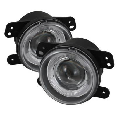 Headlights & Tail Lights - Fog Lights - Spyder - Jeep Wrangler Spyder Projector Fog Lights - Clear - FL-P-DM05-HL
