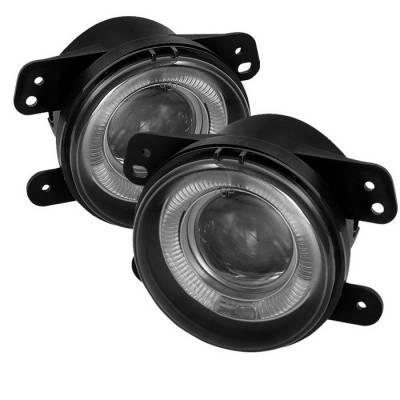 Headlights & Tail Lights - Fog Lights - Spyder - Jeep Wrangler Spyder Projector Fog Lights - Smoke - FL-P-DM05-HL-SM
